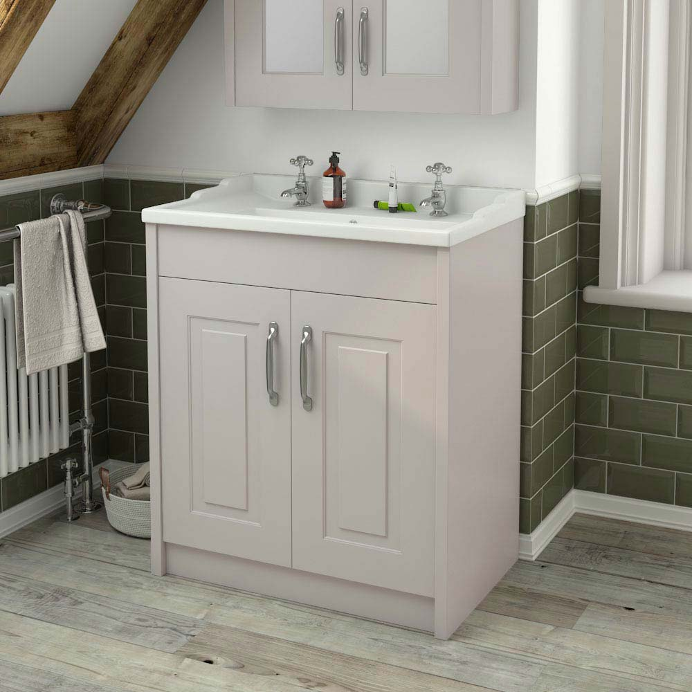 York Traditional Grey Bathroom Basin Unit (800 x 460mm) profile large image view 4