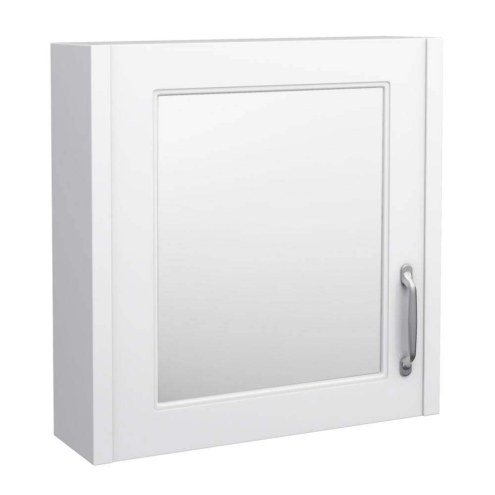 York Traditional White 1 Door Mirror Cabinet (600 x 162mm) Large Image