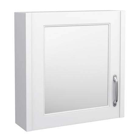 York Traditional White 1 Door Mirror Cabinet (600 x 162mm)