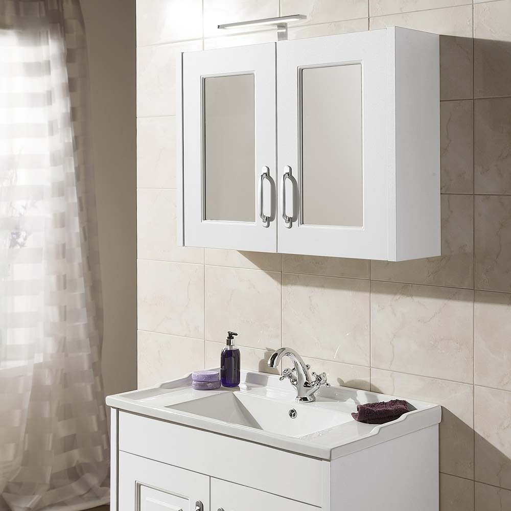 York Traditional White 2 Door Mirror Cabinet (800 x 162mm) Profile Large Image