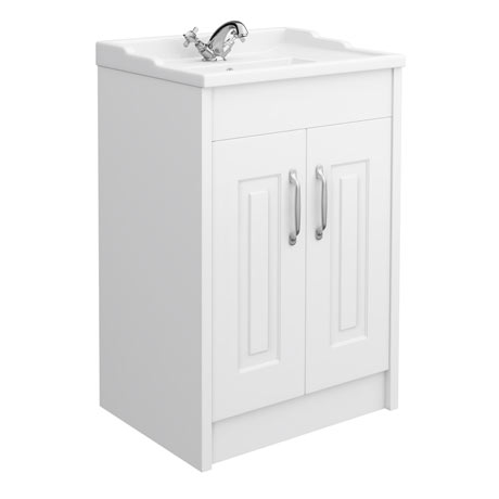 York Traditional White Bathroom Basin Unit (600 x 460mm)