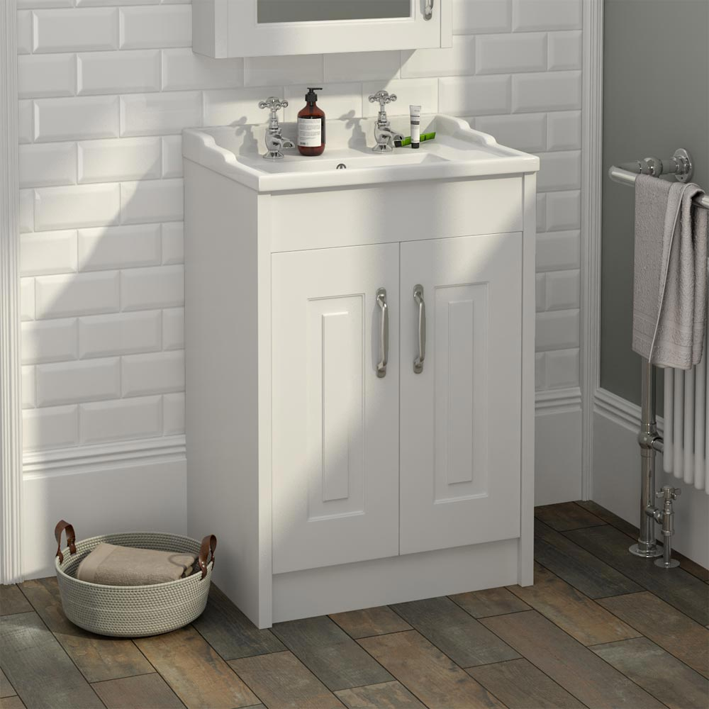 York Traditional White Bathroom Basin Unit (600 x 460mm)  Feature Large Image