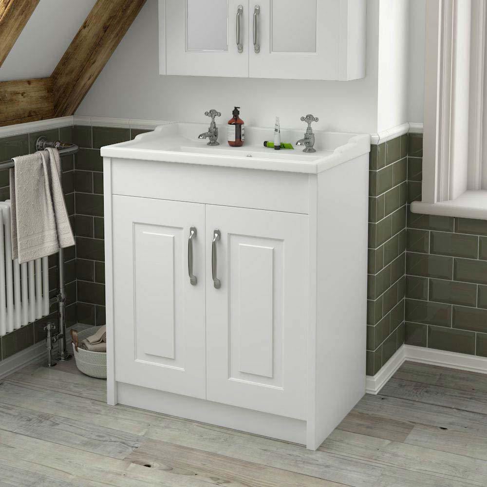 York Traditional White Bathroom Basin Unit (800 x 460mm)  Standard Large Image