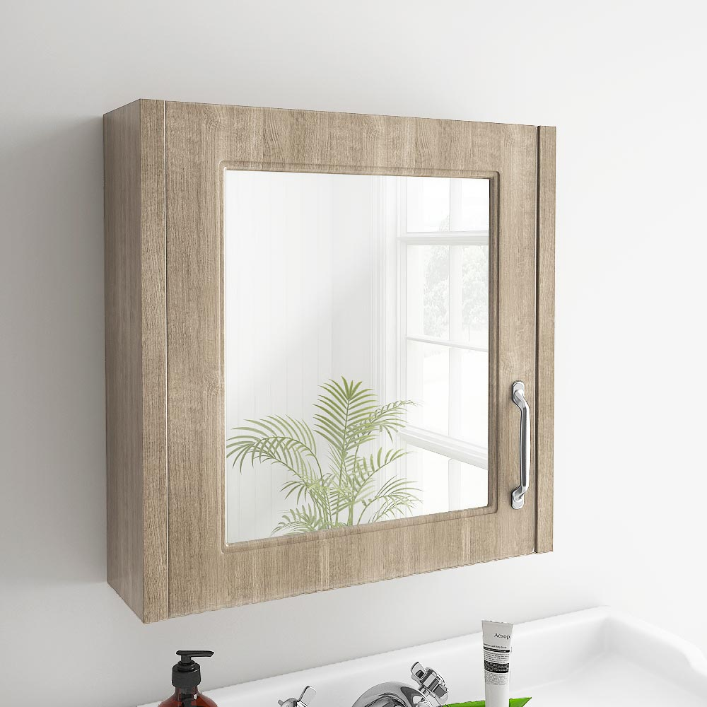 York Traditional Wood Finish 1 Door Mirror Cabinet (600 x 162mm) profile large image view 2