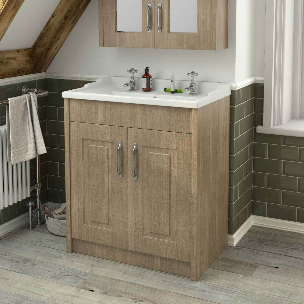 York Traditional Wood Finish Bathroom Basin Unit (800 x 460mm) profile large image view 3
