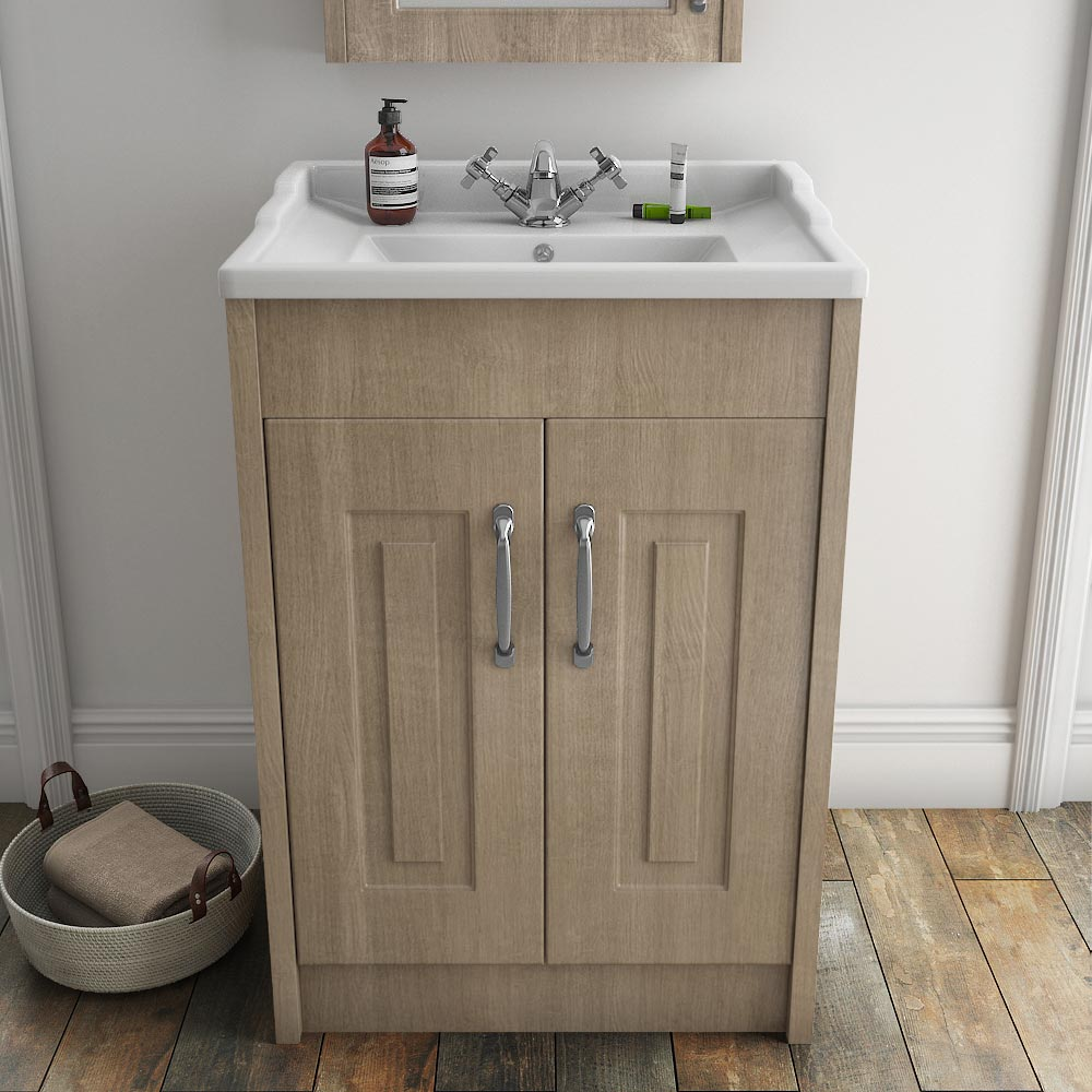 York Traditional Wood Finish Bathroom Basin Unit (600 x 460mm) profile large image view 2