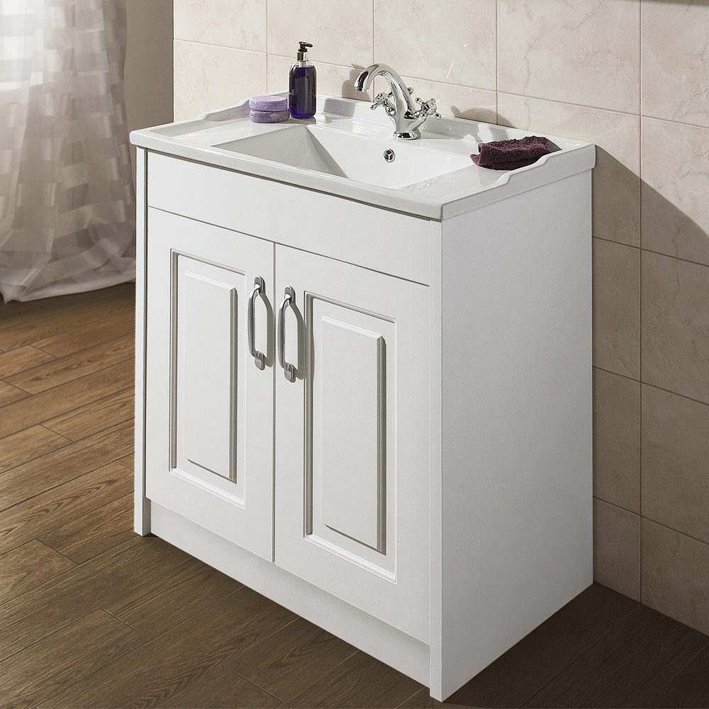 York Traditional White Bathroom Basin Unit (800 x 460mm)  Profile Large Image
