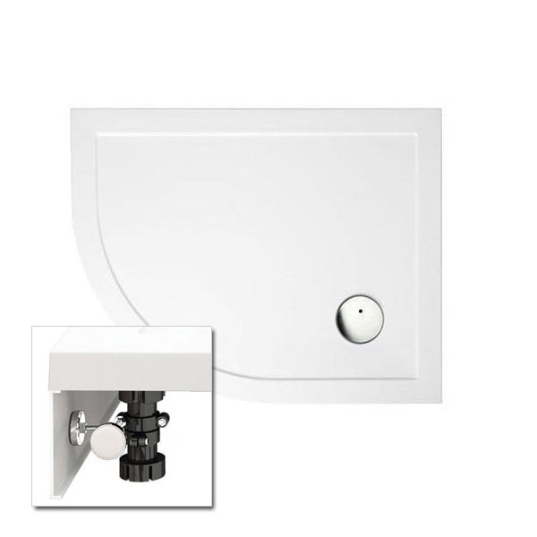 Zamori - 35mm Offset Quadrant Shower Tray with Leg & Panel Set - Left Hand - Various Size Options profile large image view 1