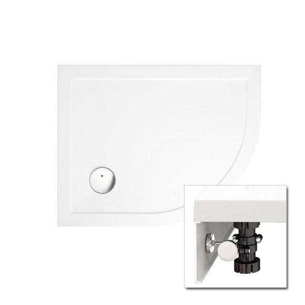 Zamori - 35mm Offset Quadrant Shower Tray with Leg & Panel Set - Right Hand - Various Size Options Large Image