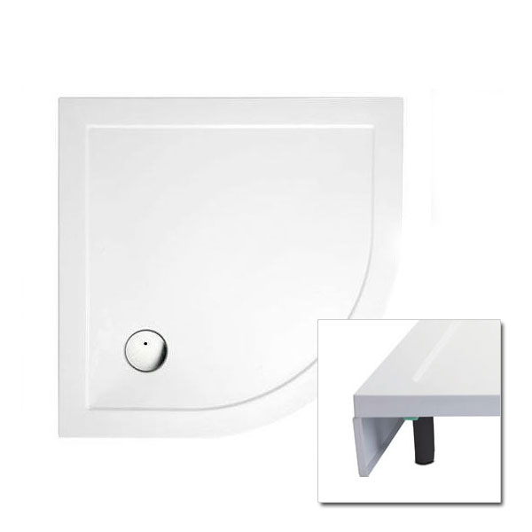 Cleargreen - 35mm Quadrant Shower Tray with Leg & Panel Set - Various Size Options Large Image