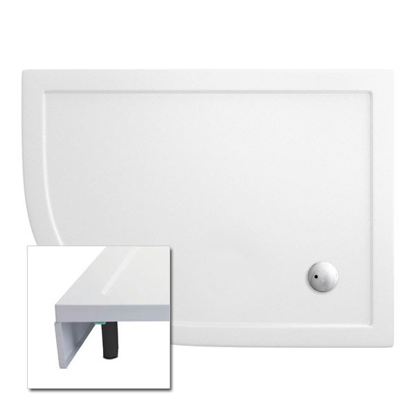 Cleargreen - 35mm Offset Quadrant Shower Tray with Leg & Panel Set - 900 x 1200mm - Left Hand Large Image