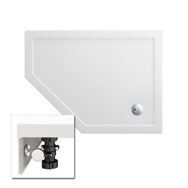 Zamori - 35mm Offset Pentangle Shower Tray with Leg & Panel Set - Left Hand - Various Size Options Large Image