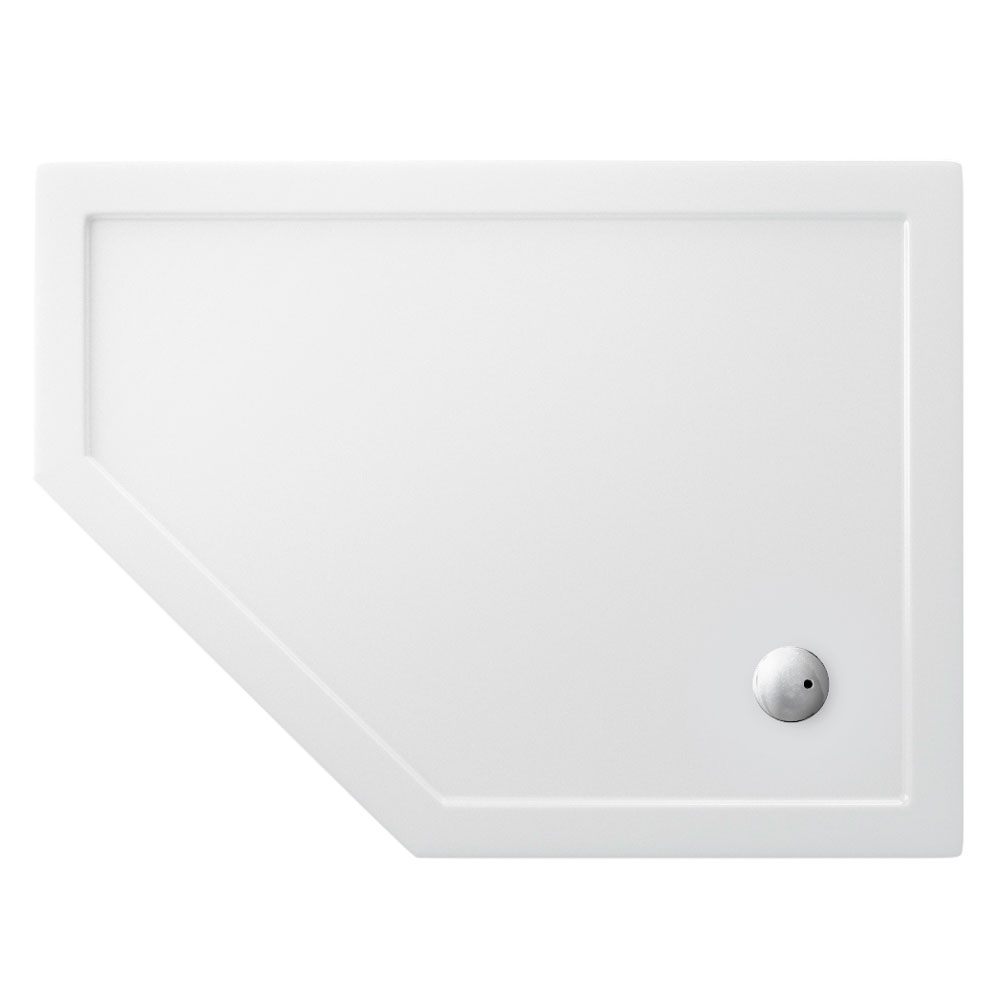 Zamori - 35mm Offset Pentangle Shower Tray - Left Hand - Various Size Options Large Image