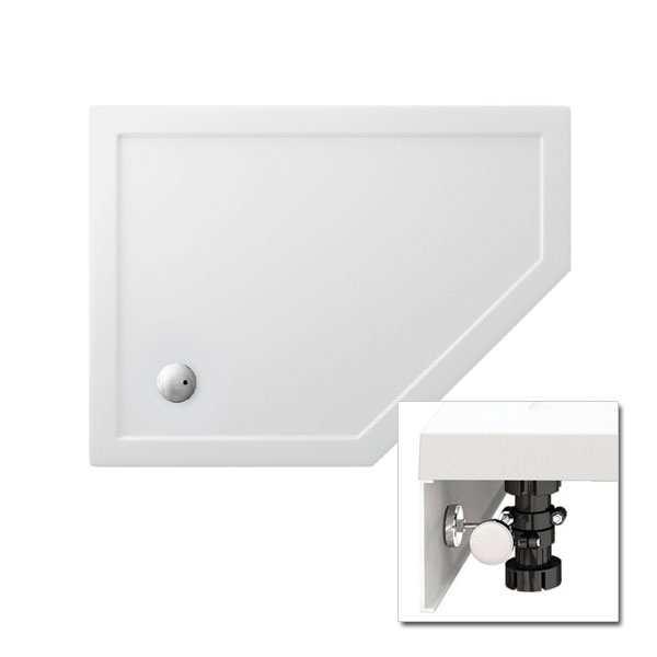 Zamori - 35mm Offset Pentangle Shower Tray with Leg & Panel Set - Right Hand - Various Size Options Large Image