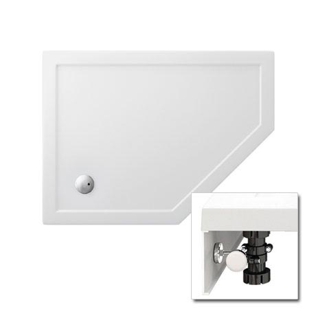 Zamori - 35mm Offset Pentangle Shower Tray with Leg & Panel Set - Right Hand - Various Size Options