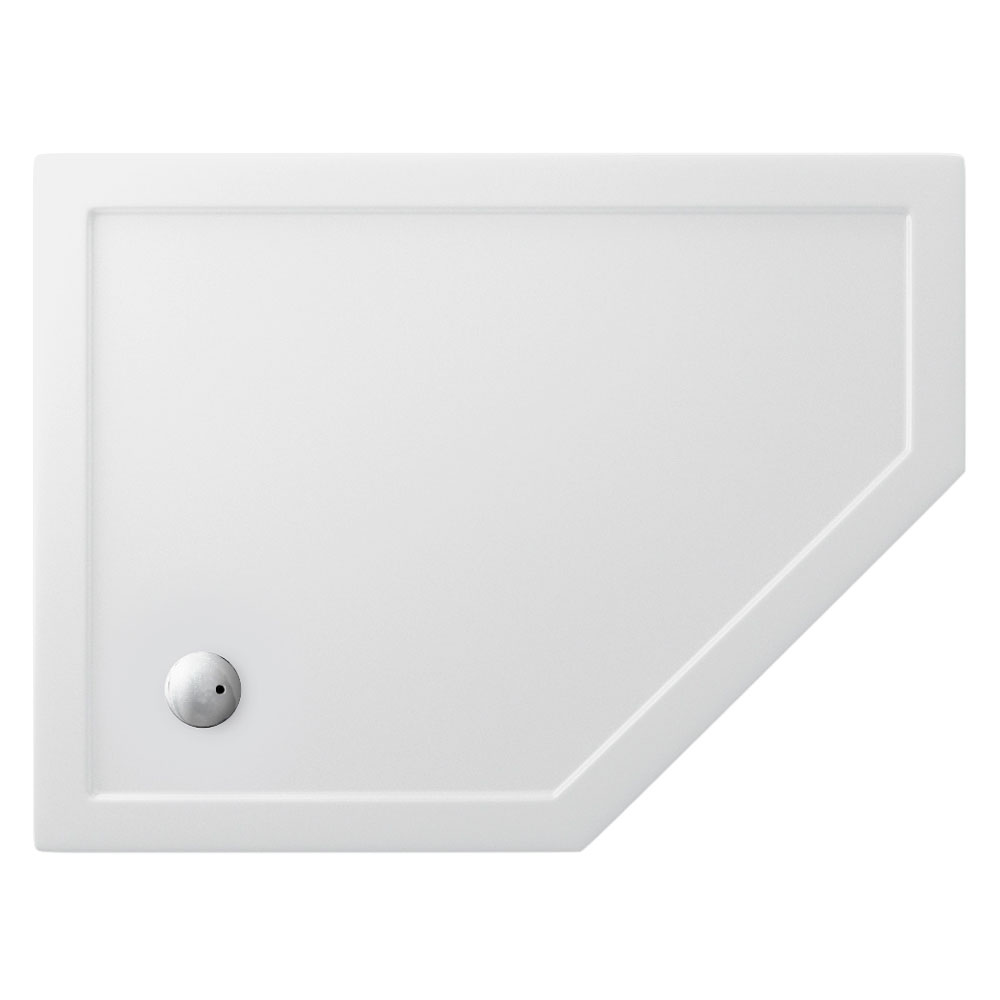 Zamori - 35mm Offset Pentangle Shower Tray - Right Hand - Various Size Options Large Image