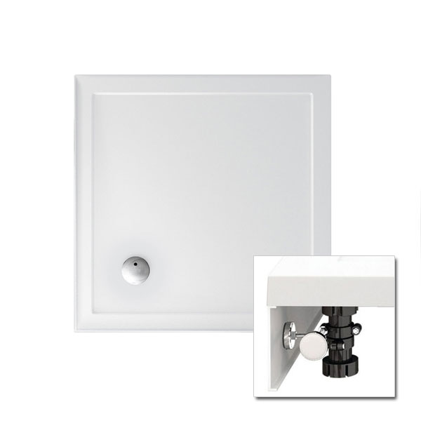 Zamori - 35mm Square Shower Tray with Upstand and Leg & Panel Set - Various Size Options Large Image