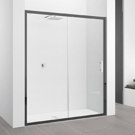 Novellini Zephyros 2P Sliding Shower Door 1460-1520mm (Clear Glass - Black Frame)