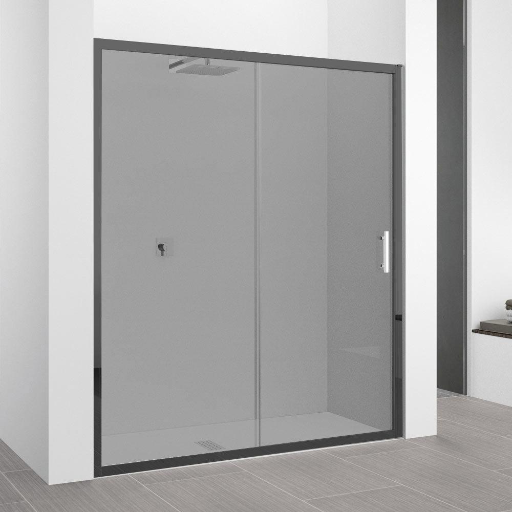 Novellini Zephyros 2P Sliding Shower Door 1460-1520mm (Smoked Glass - Black Frame)