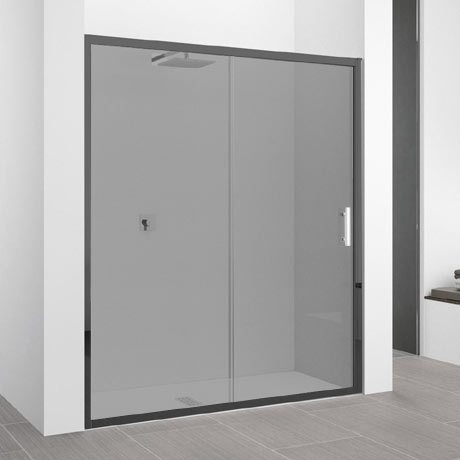 Novellini zephyros 2p sliding shower door 1460 1520mm for Black sliding glass doors