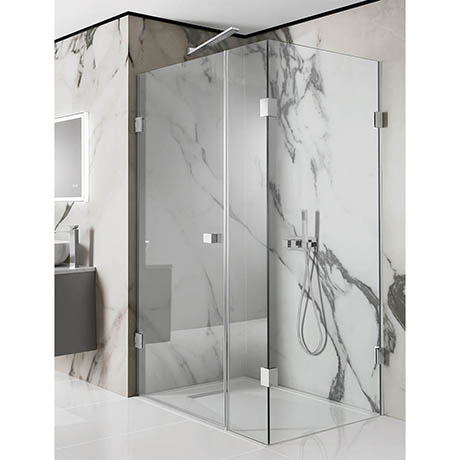 Simpsons Zion Hinged Shower Door with Inline & Fixed Panel