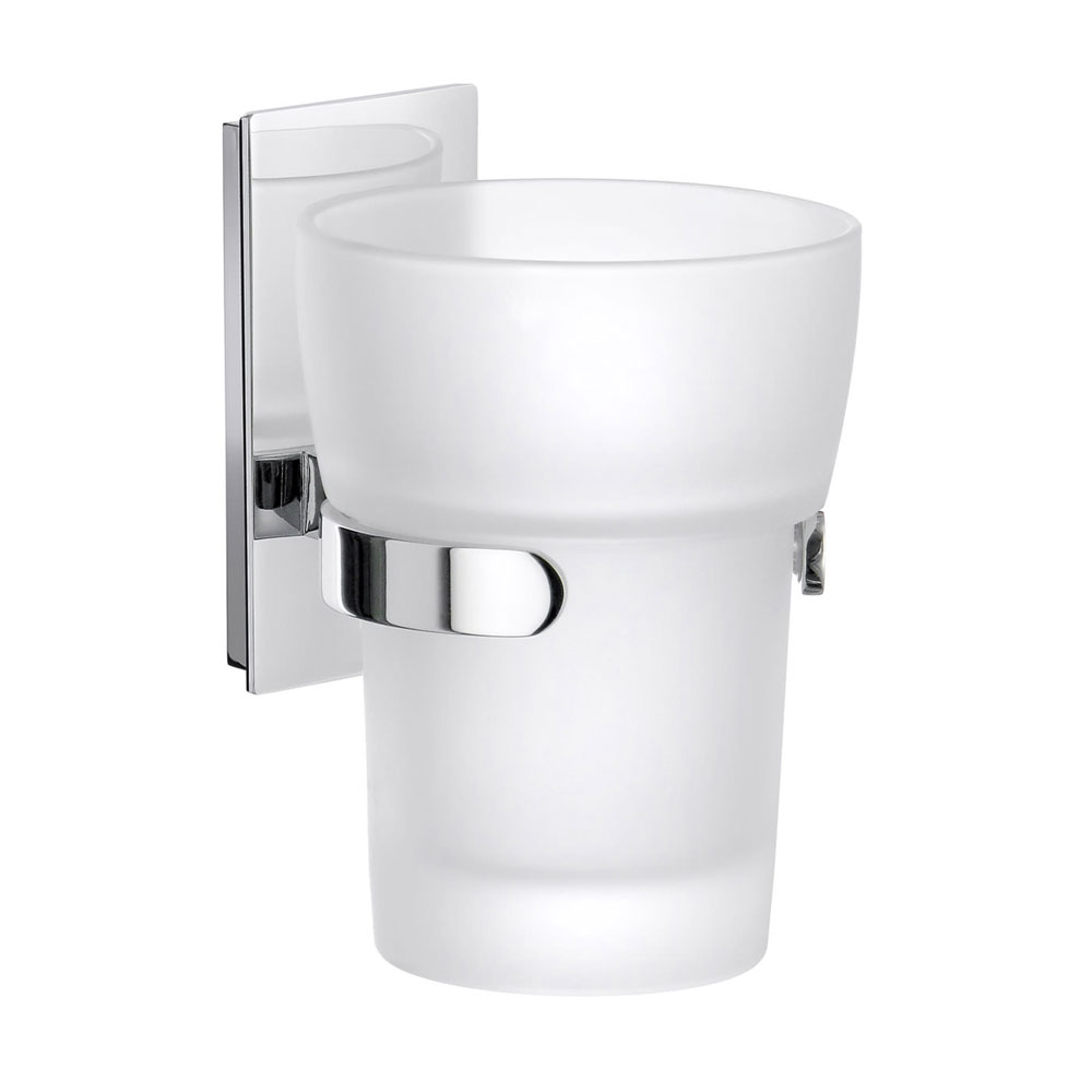 Smedbo Pool Holder with Frosted Glass Tumbler - Polished Chrome - ZK343 Large Image