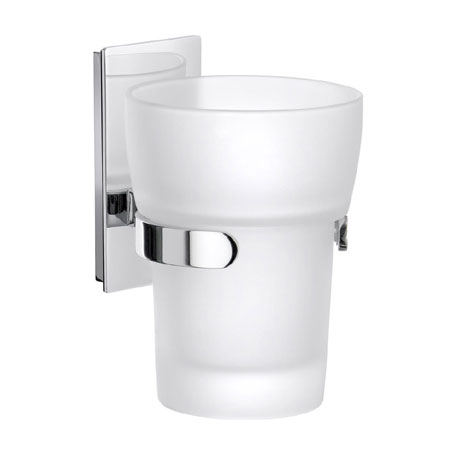 Smedbo Pool Holder with Frosted Glass Tumbler - Polished Chrome - ZK343