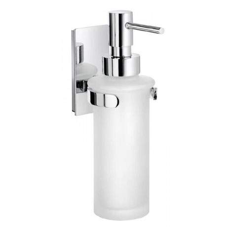 Smedbo Pool Wall Mounted Frosted Glass Soap Dispenser - Polished Chrome - ZK369