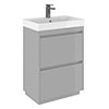 Crosswater Zion 60 Floor Standing Unit + Basin - Storm Grey Matt profile small image view 1