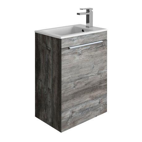 Bauhaus Zion Single Door Wall Hung Unit + Basin - Driftwood