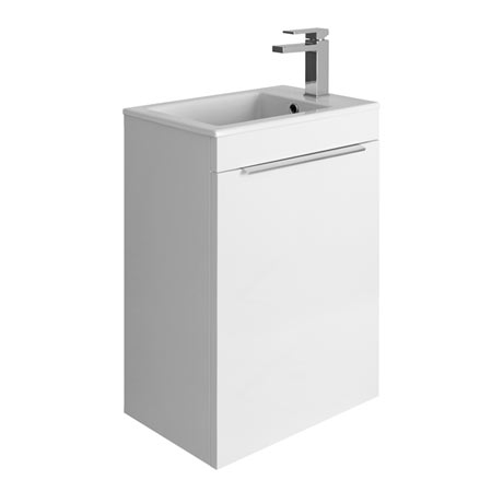 Bauhaus Zion Single Door Wall Hung Unit + Basin - White Gloss