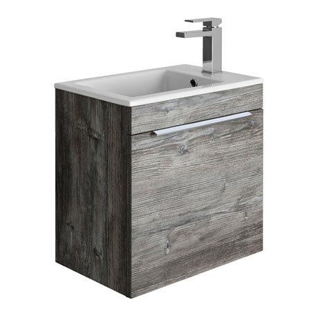 Bauhaus Zion Single Drawer Wall Hung Unit + Basin - Driftwood