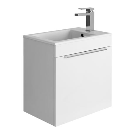 Bauhaus Zion Single Drawer Wall Hung Unit + Basin - White Gloss