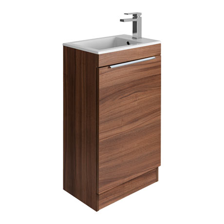 Bauhaus Zion Single Door Floor Standing Unit + Basin - Natural Walnut
