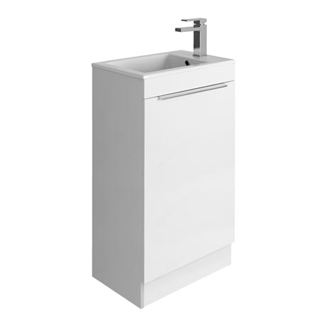 Bauhaus Zion Single Door Floor Standing Unit + Basin - White Gloss