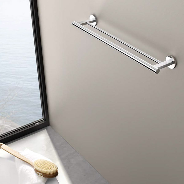 Zack - Scala Stainless Steel Double Towel Rail - 40059 profile large image view 2