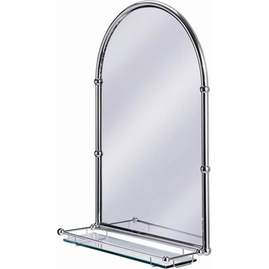 burlington arched mirror with shelf in chrome frame a10 chr at victorian plumbing uk. Black Bedroom Furniture Sets. Home Design Ideas