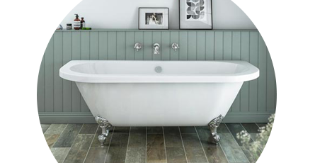 Back To Wall Bath Freestanding Roll Top Victorian