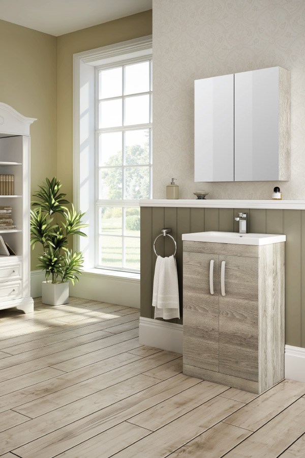 A bathroom plants shown with the Brooklyn driftwood furniture range