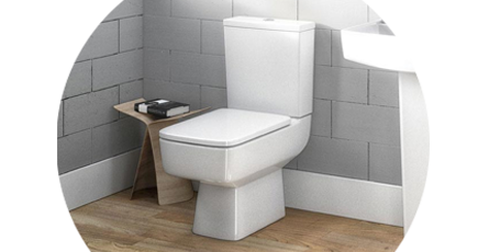 Bathroom with a square close coupled toilet