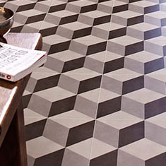 Cube Grey Patterned Floor Tiles