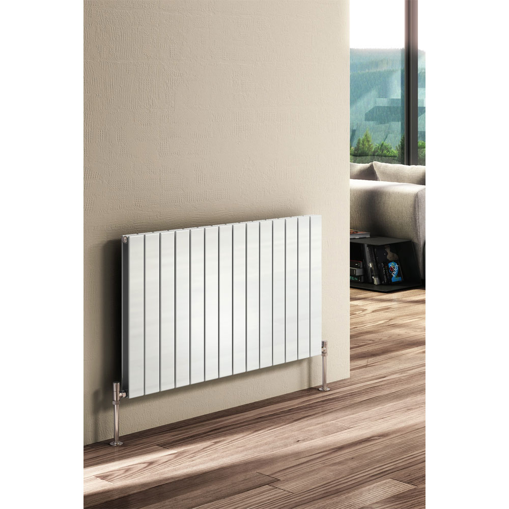 Reina Flat Horizontal Double Panel Designer Radiator - White Profile Large Image