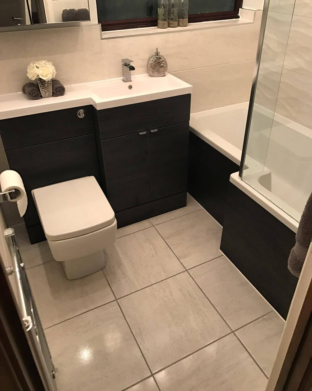 Ellie's Brooklyn black combination vanity and WC with matching black bath panels