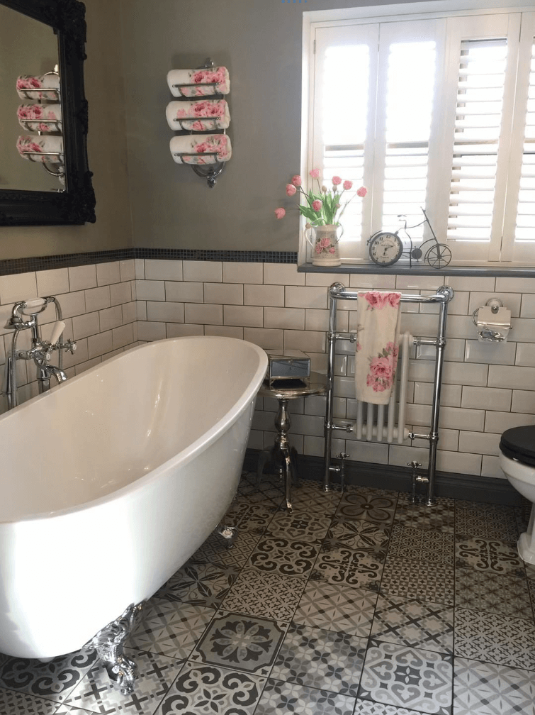 Freestanding Bath and Dark Framed Mirror | Emma's Eclectic Bathroom - Lancashire