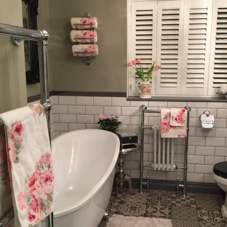 Slipper Style Freestanding Bath and Heated Towel Rail | Emma's Eclectic Bathroom - Lancashire