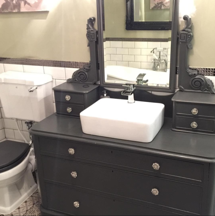 Vintage Dresser with Counter Top Basin | Emma's Eclectic Bathroom - Lancashire