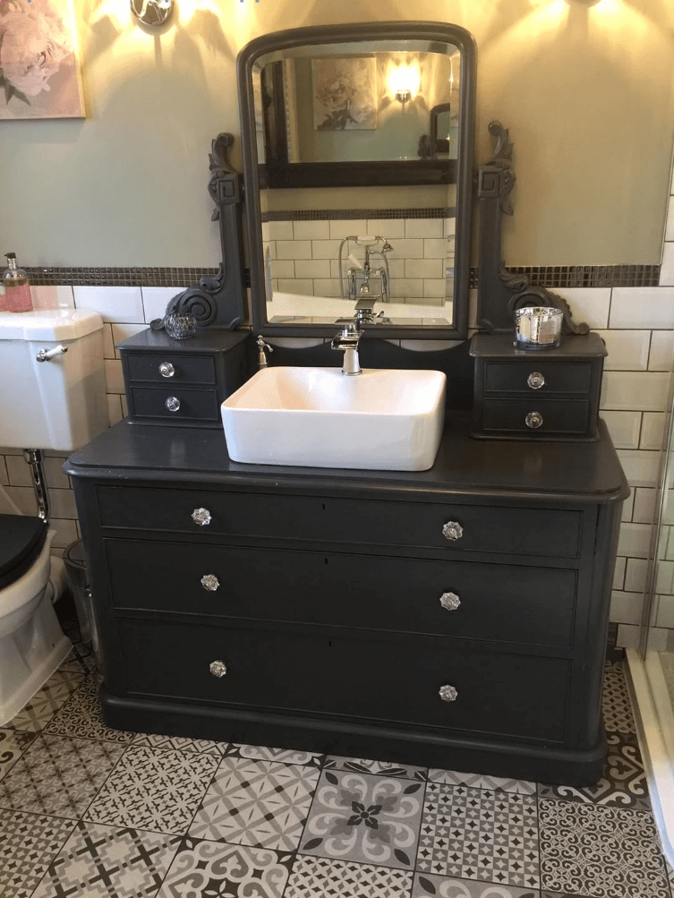 Vintage Dresser Turned Vanity Unit | Emma's Eclectic Bathroom - Lancashire