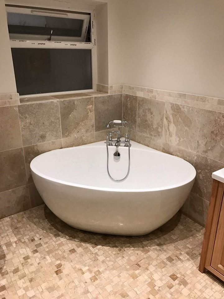 Freestanding bath with deck mounted traditional taps | Faith'a Family Bathroom - Walsall, Midlands
