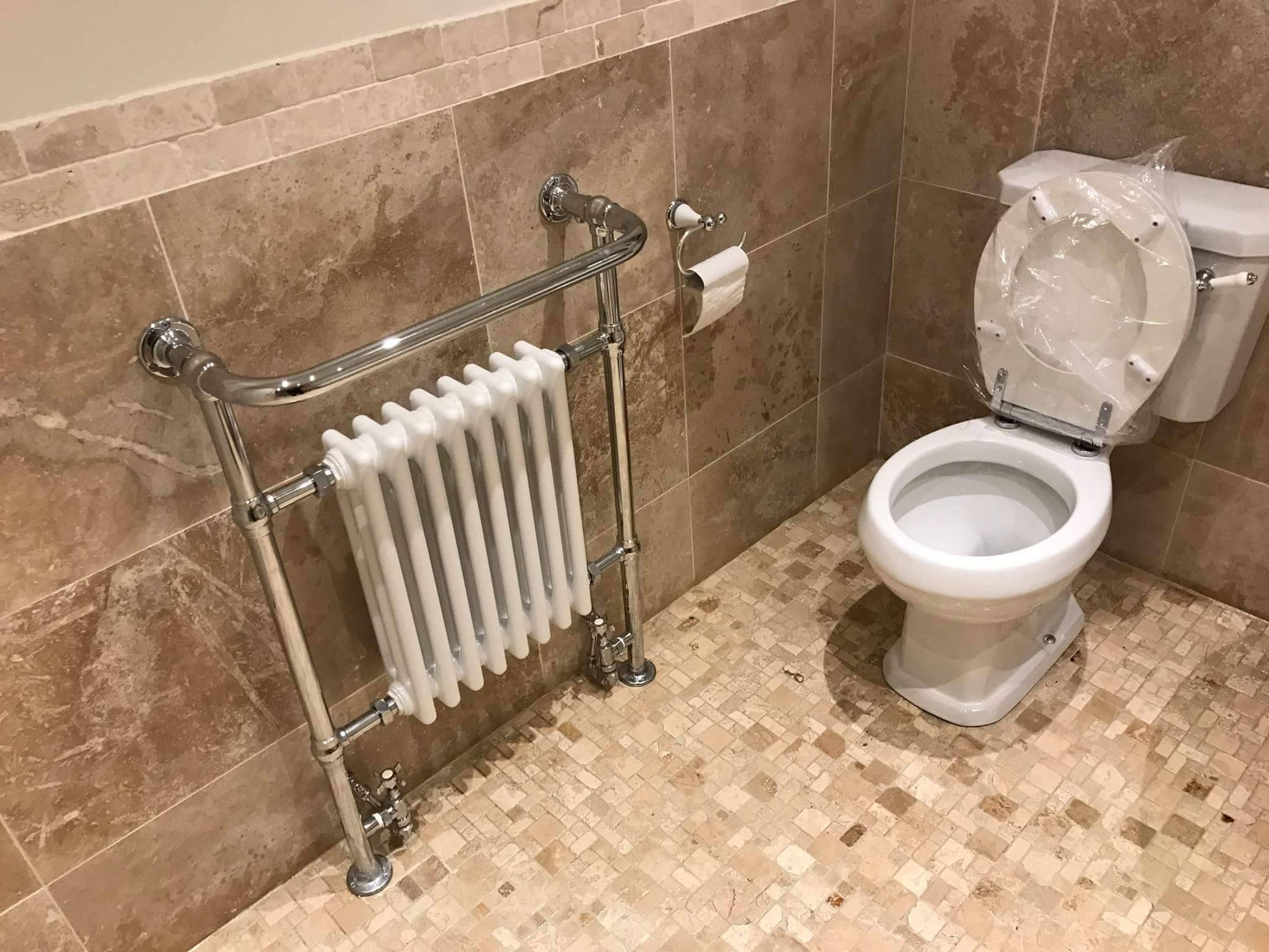 Faith's Traditional heated towel rail and close coupled toilet | Faith'a Family Bathroom - Walsall, Midlands