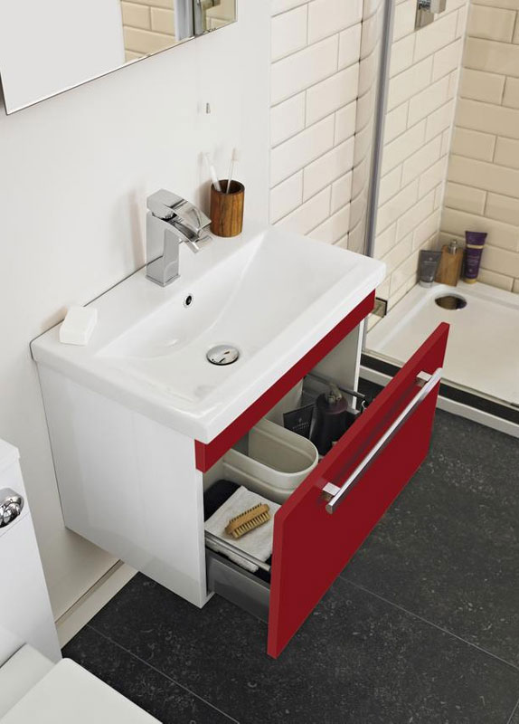 Ultra Design 600mm 2 Drawer Floor Mounted Minimalist Basin & Cabinet Gloss Red - CAB158-BAS120